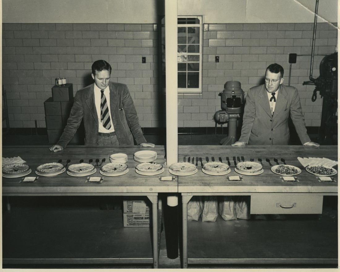 Tasting pies of the Coville and Berkeley Blueberry Varieties. These two varieties were released by the US Dept of Ag and NJAES in Fall, 1949.